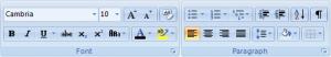 Word formatting toolbar