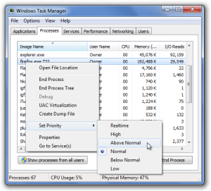 Setting process priority from the task manager